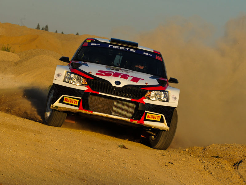 EUROPEAN RALLY CHAMPIONSHIP DRIVER NIKOLAY GRYAZIN LEADS RALLY TALSI AFTER DAY ONE